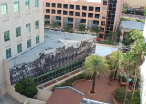 Aerial View of Mural and Courtyard
