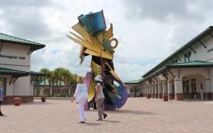 Sculpture Nestled between McTarnaghan and Howard Halls