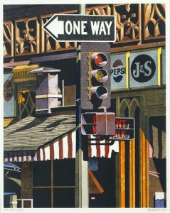 035 1984 One Way hand-coloured lithograph 63.5 x 50.8 cm[1]