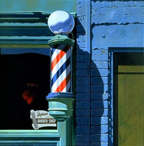 056 1988 Barber Shop oil on canvas 81.3 x 81.3 cm[1]