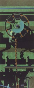 064 1991 Rolling Stock Series No. 7, for Jim hand-coloured etching, collagraph & monoprint 187 x 74.3 cm[1]