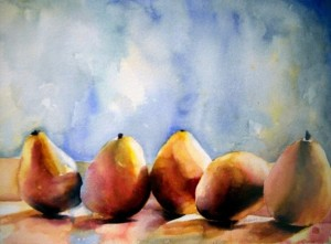 """Pear Lineup"" by Patty Kane, watercolor, 2009"